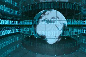 Weltkugel im Datenmeer